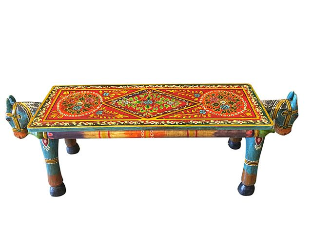 India Furniture Horse Head Carved Wood Coffee Table  WSL