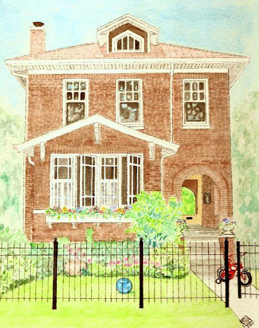 custom home portrait watercolors by anne harwell