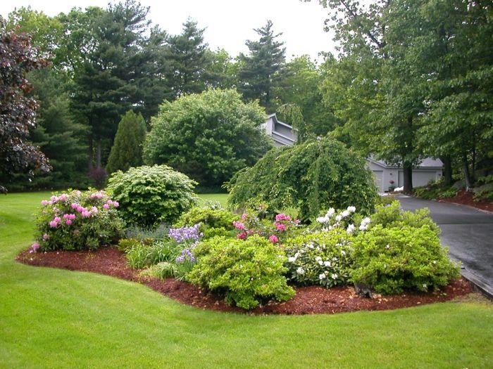 Rasen und Blumenbeete, Zierstrauche moderner Vorgarten - moderne vorgarten gartengestaltung