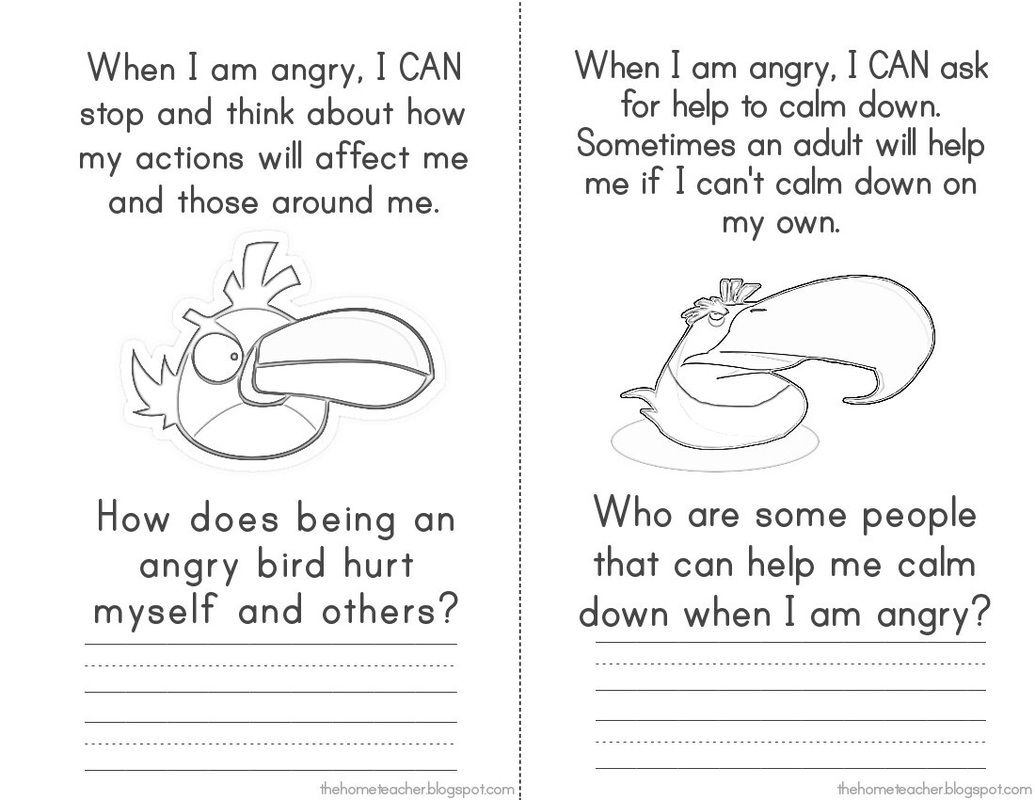 Anger Management Elementary School Dont Be An Angry Bird – Free Anger Management Worksheets