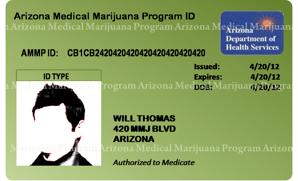 What an Arizona Medical Marijuana Patient Card looks like.