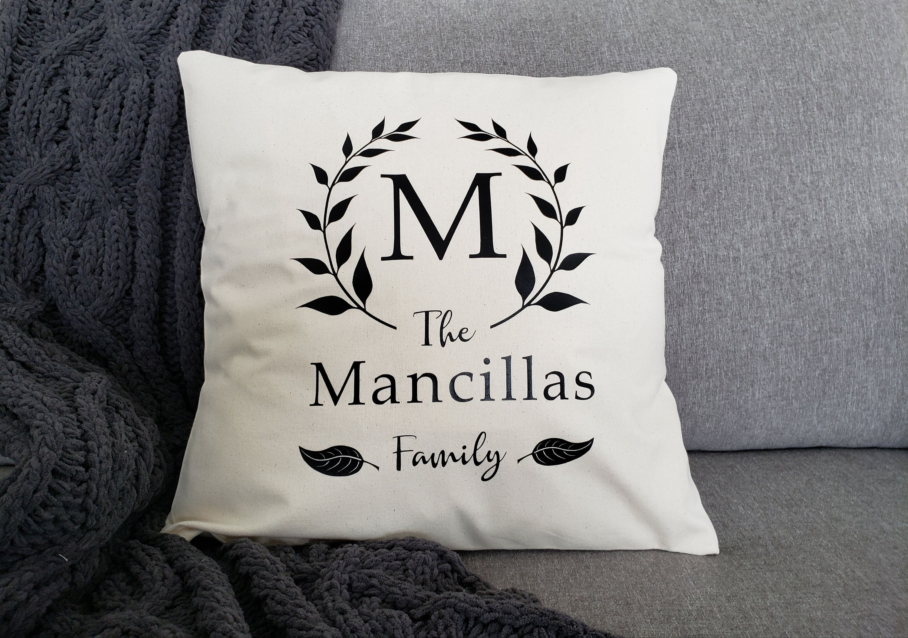 Monogrammed Farmhouse Pillow Cover Mother S Day Gift