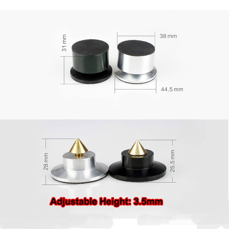 4PCS 44mm Aluminium Speaker Spikes Base Pads Amplifier Shockproof