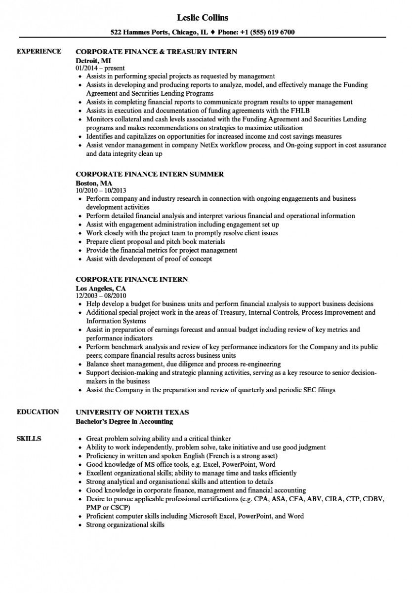 14 Finance Scholar Resume For Internship
