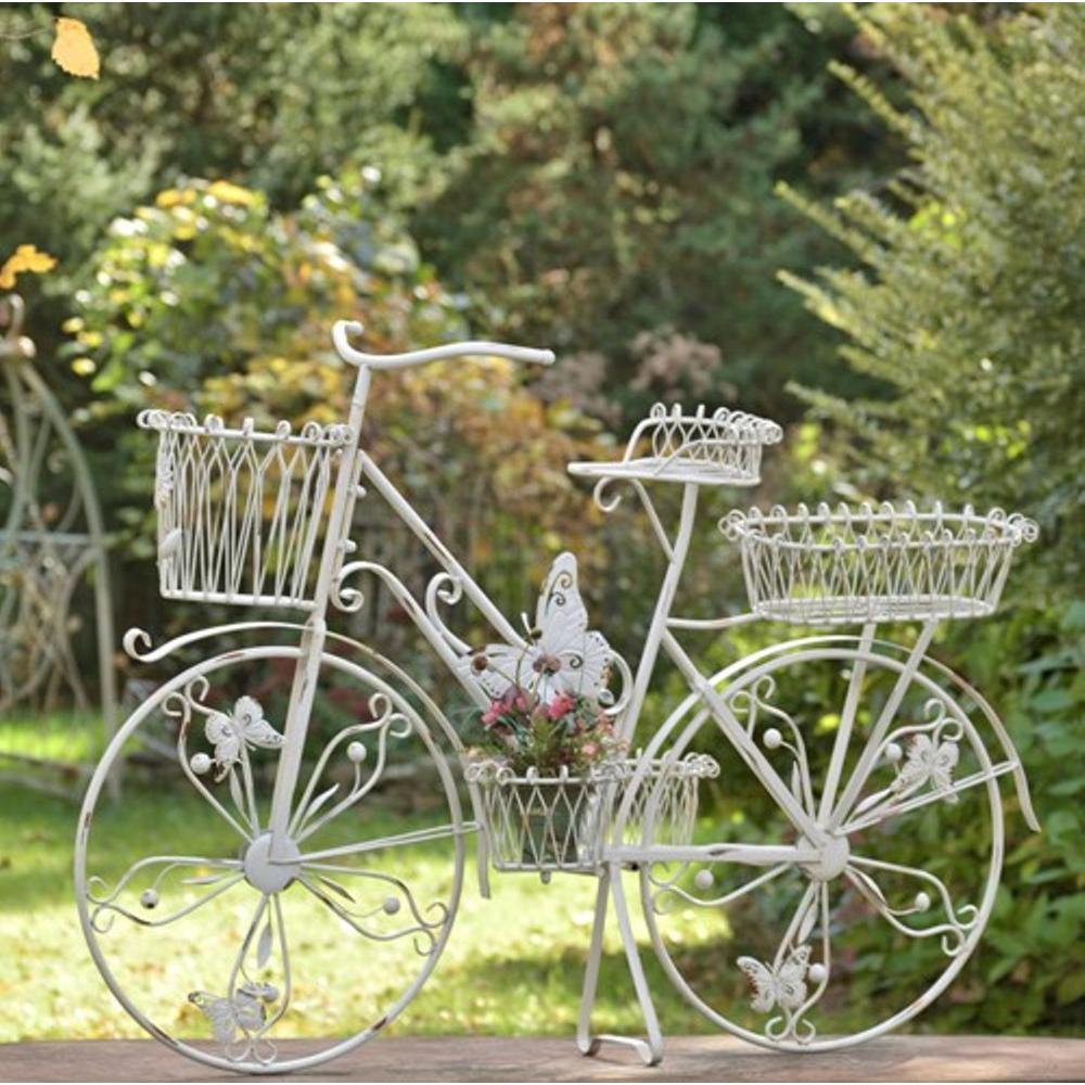 Zaer Ltd International Large Antique White Iron Bicycle Plant