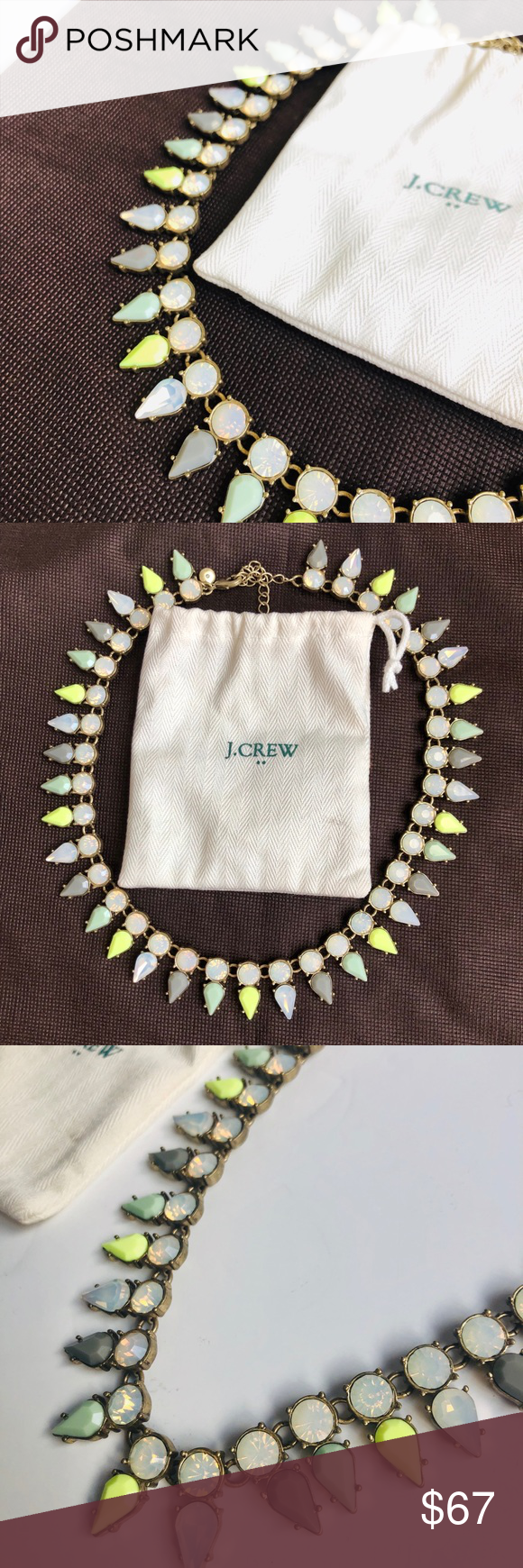 J Crew Spike Necklace NWOT Great pastel color palette for versatility and an added pop of color! Mixture of brass, epoxy and glass. Light gold of playing. Length approx 16 with a 2 1/4 extender chain. NWOT. Never worn. Mint condition. Ask questions! J. Crew Jewelry Necklaces #colorpalettecopies