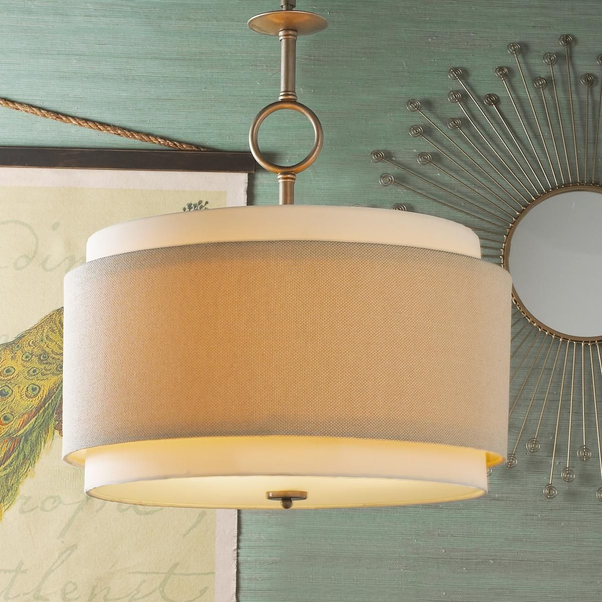 Double Drum Pendant Large This Modern Shade Fixture Is A Study In Textures The Beige Tweed Woven Outer 9 H X 22 W
