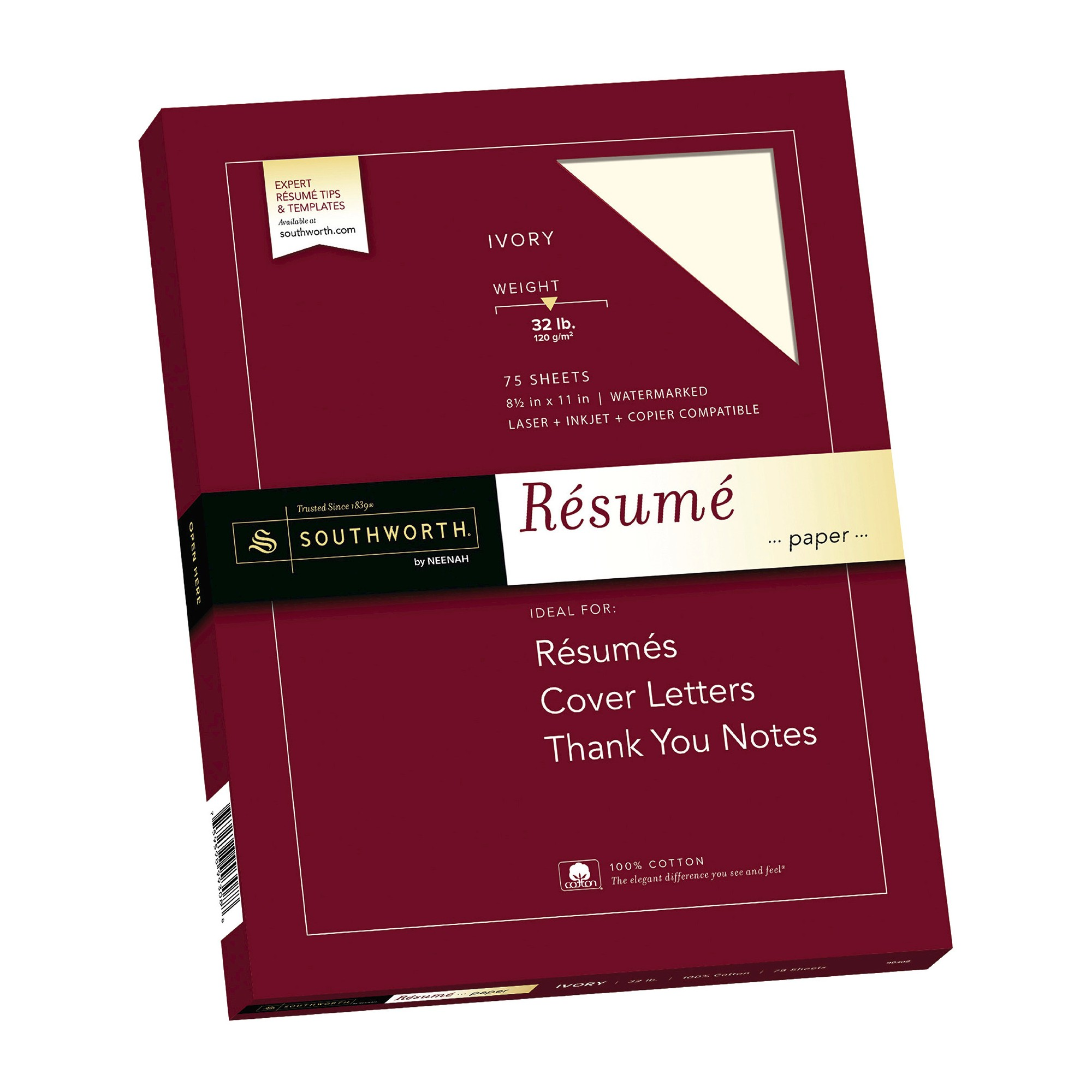 Southworth 100 Cotton Resume Paper 8 5 X 11 32lb Wove Finish