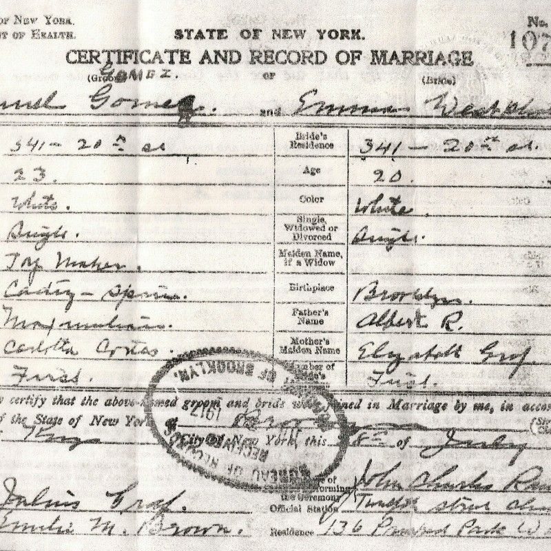 Genealogy Articles : New York Marriage Records
