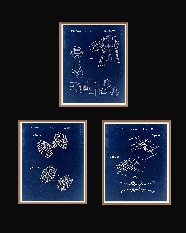 3 star wars patent prints 1980 1982 set on a vintage blue paper 3 star wars patent prints 1980 1982 set on a vintage blue paper background instant download vintage blueprint downloadable art by rarevintagepatents on malvernweather Choice Image
