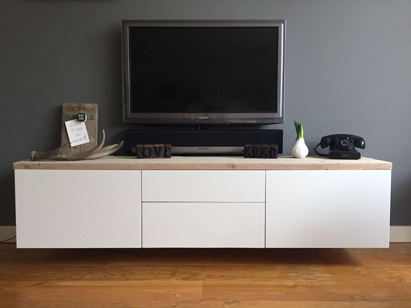 Ikea Besta met steigerhout  muebles tv en 2019  Muebles