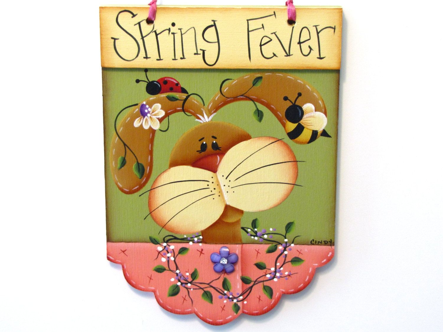 Bunny Spring Fever Banner, Lady Bug, Bee, Vines, Daisies ...