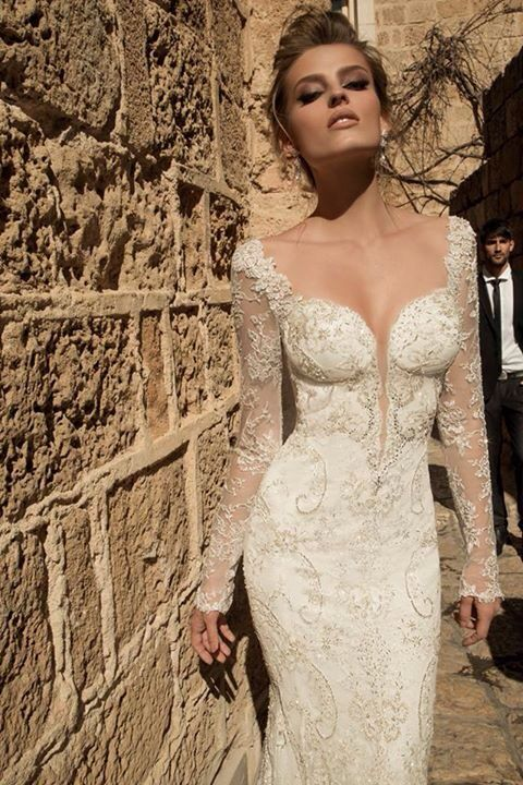 Plunging V Neck And Sweet Heart Neckline With Sheer Lace Long