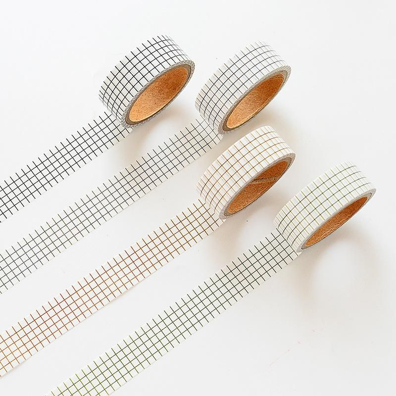 Grid Dot Twill Stripe Patterns Washi Tape (Set of 4)