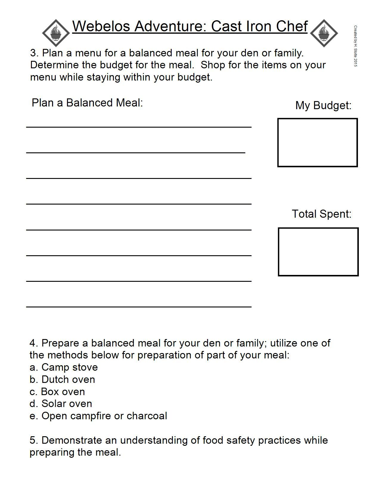 Webelos Adventure Work Sheet Cast Iron Chef 3 4 Amp 5