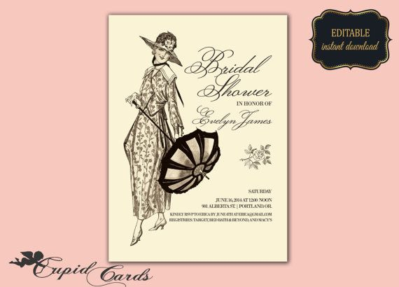 Beautiful Vintage Inspired Bridal Shower Invitation by CupidCards