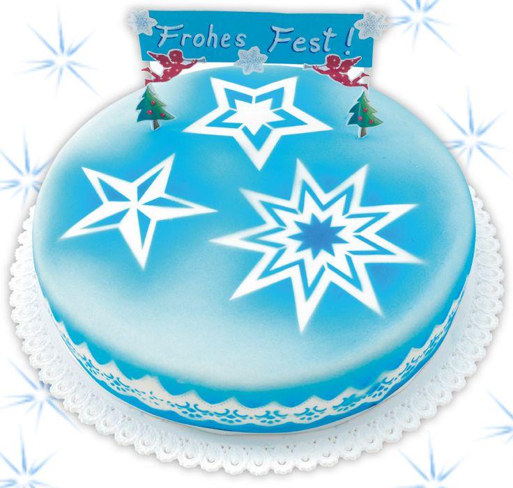 Im Handumdrehen lässt sich diese kreative Weihnachtstorte mit ausgefallenen Airbursh-Effekten einfach nachmachen.