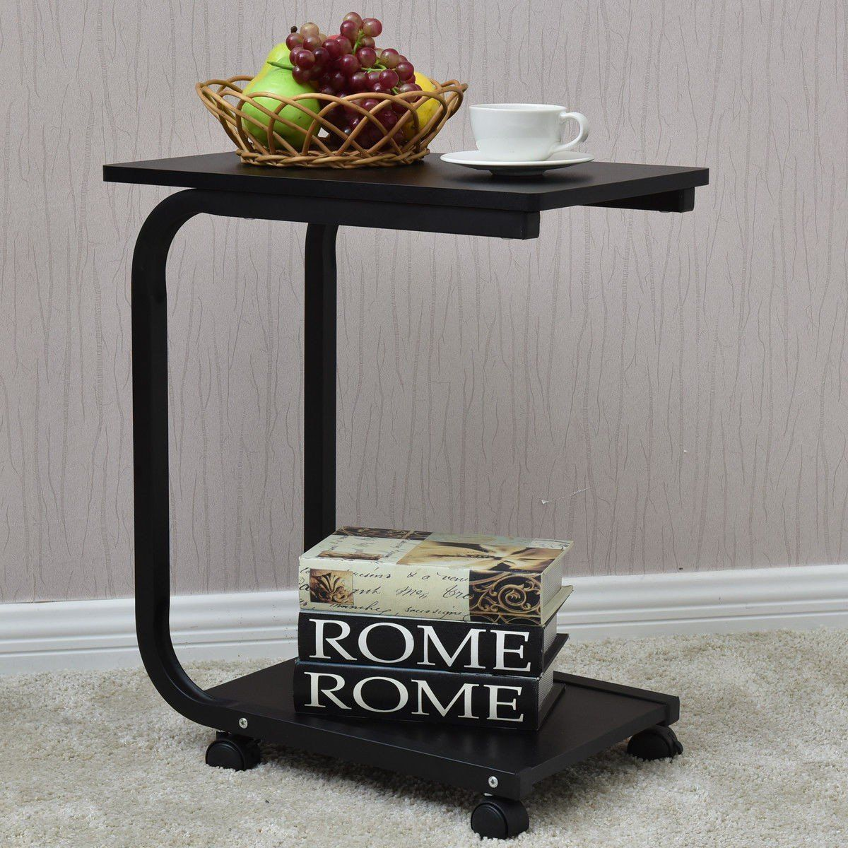 2 Tier Snack Stand Rolling Sofa Side Table Mesa Moveis Mesa Lateral