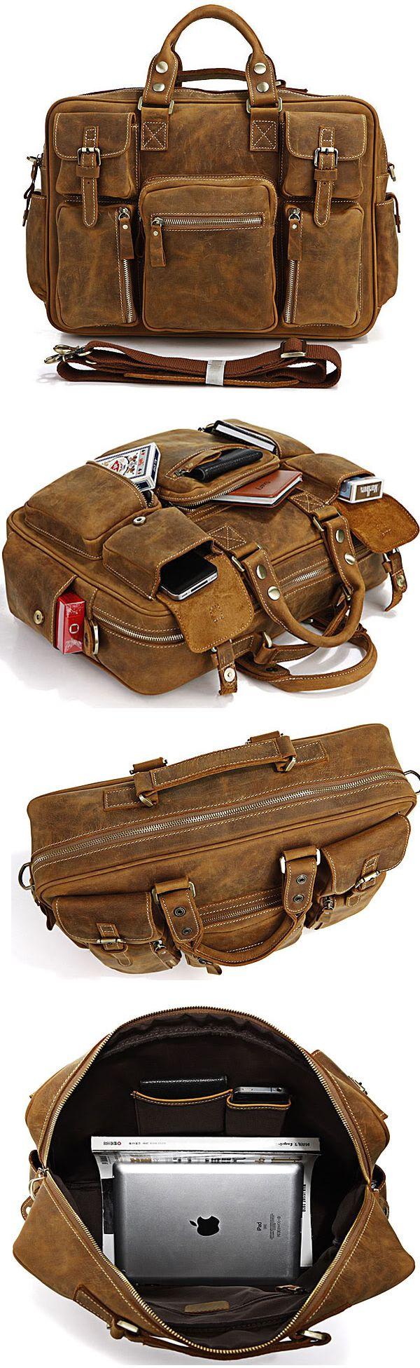 4e559ca33101 Rare Crazy Horse Leather Men s Briefcase Laptop Bag Dispatch Shoulder Huge  Duffle