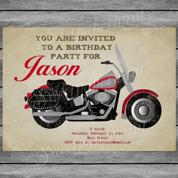 Motorcycle Birthday Invitation Card Vintage Boy by SweetPapermint – Free Printable Harley Davidson Birthday Cards