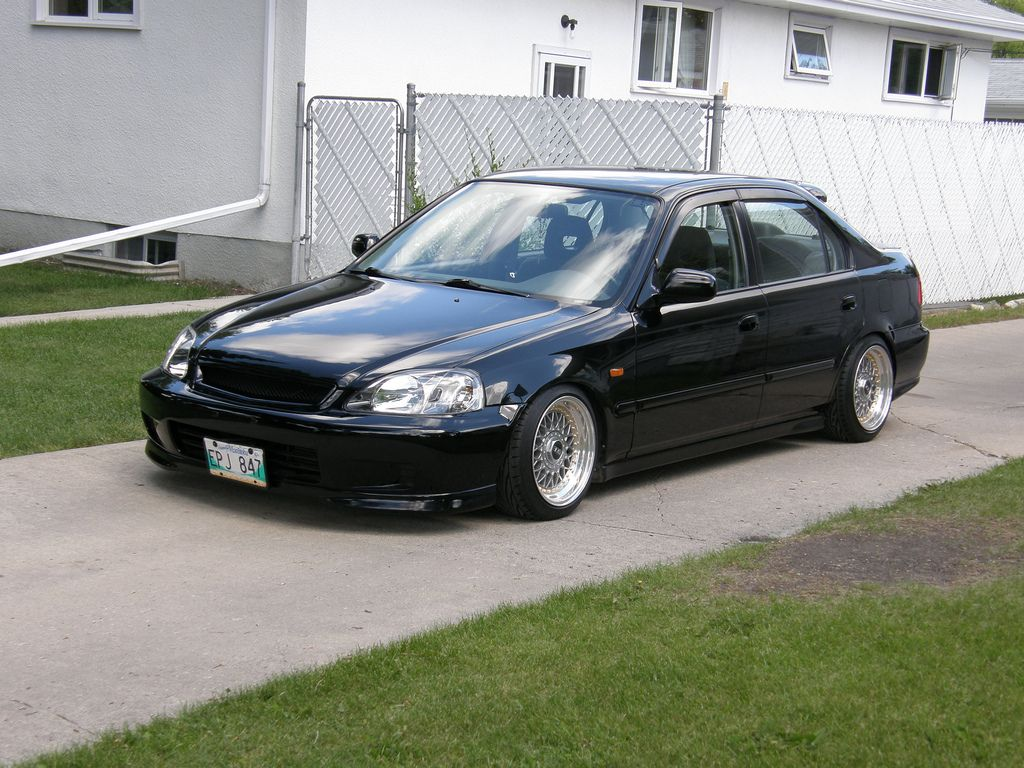 Black Honda Civic Ek Sedan On 15x8 Bbs Rm With Gold Hardware Black Honda Civic Black Honda Honda Civic Sedan