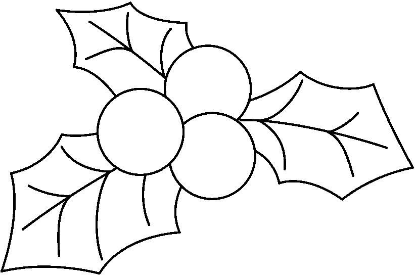 clip art holly leaves black and white - photo #7