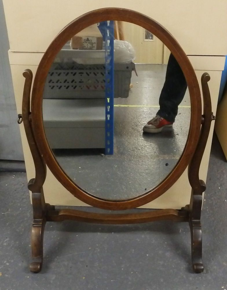 Vintage wooden free standing oval shabby chic dressing