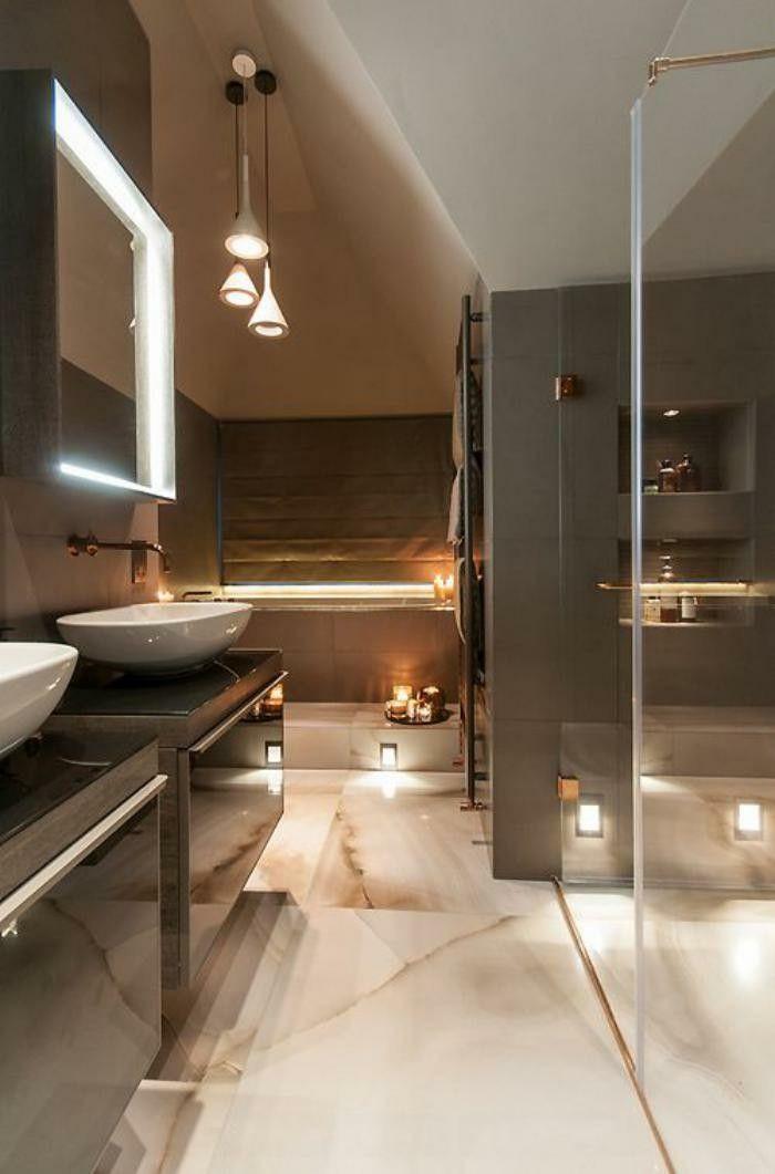 moderne badezimmer mit marmor bodenbelag Badezimmer Ideen - moderne deko badezimmer