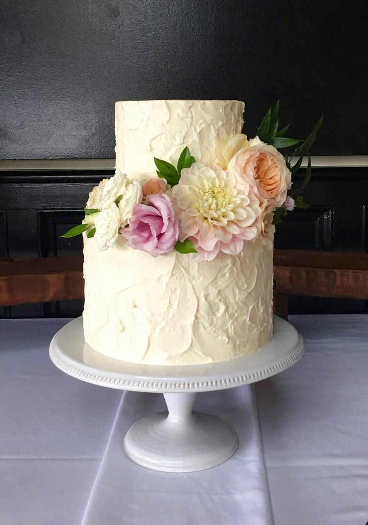 Stucco Buttercream TwoTier Tiered wedding cake, Wedding