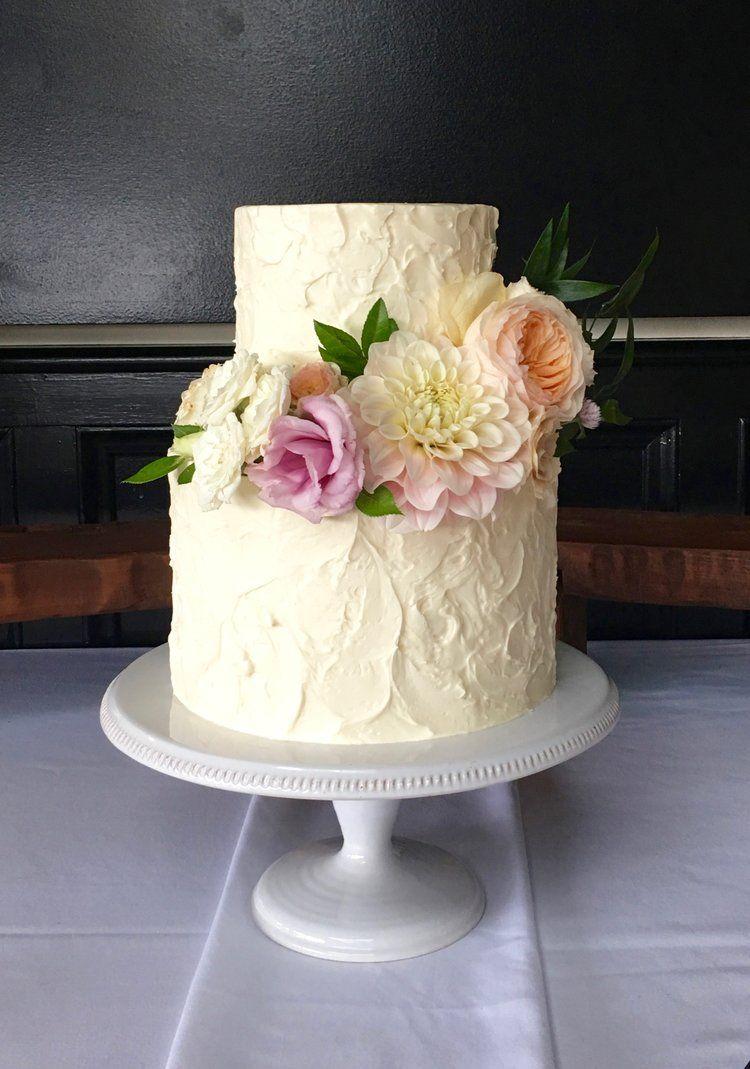 Stucco Buttercream TwoTier Tiered wedding cake, Wedding