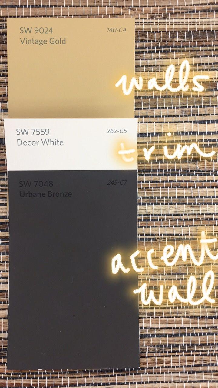 Sw 9024 Vintage Gold Wall Color Sw 7559 Decor White Trim Color Sw 7048 Urbane Bronze Gold Paint Colors Exterior Paint Colors For House Bronze Color Palette