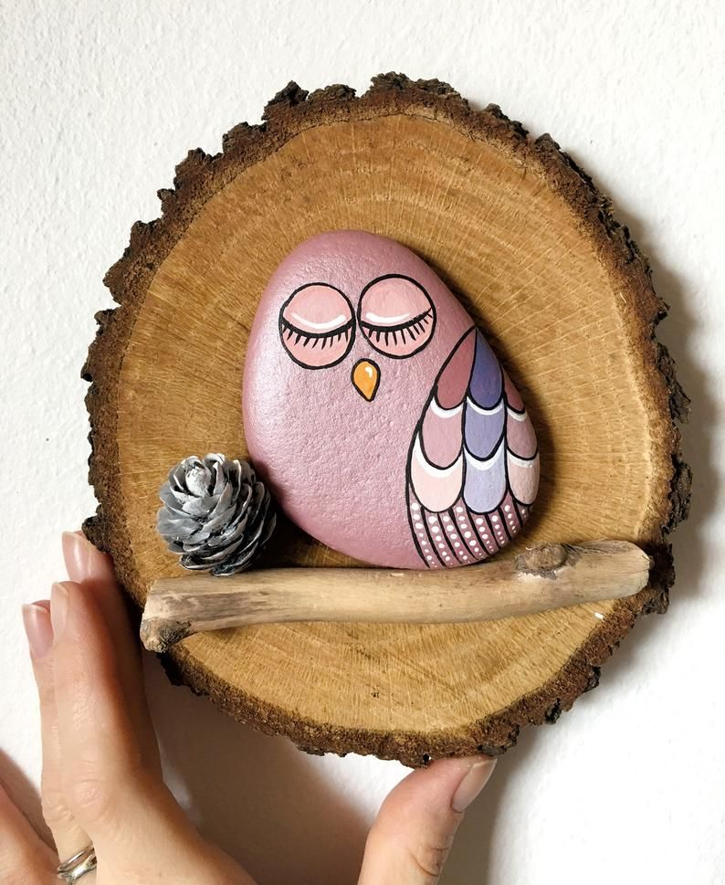 Lucky Owl on wood slice * loveoftheangels