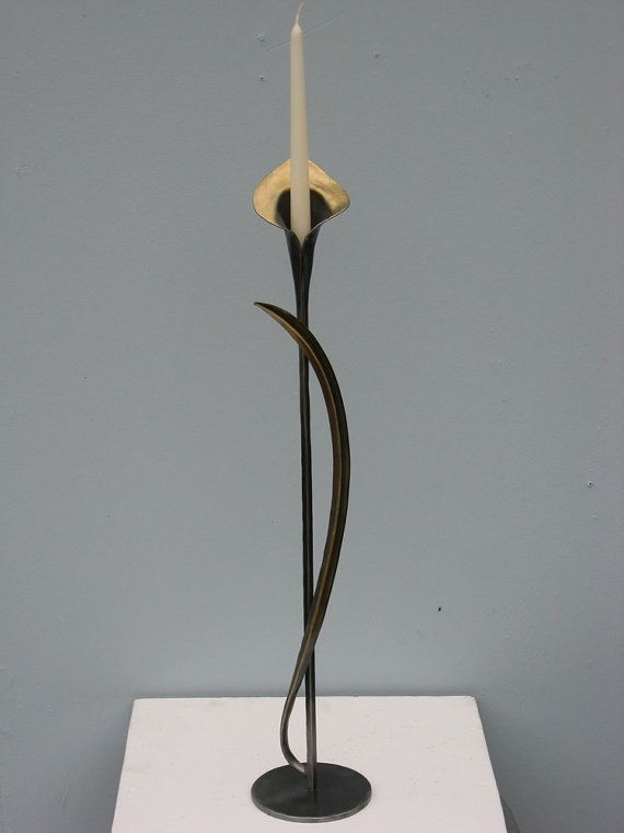 Hand Forged Calla Lily Candle Stand by pa blacksmith by arkiron, $150.00