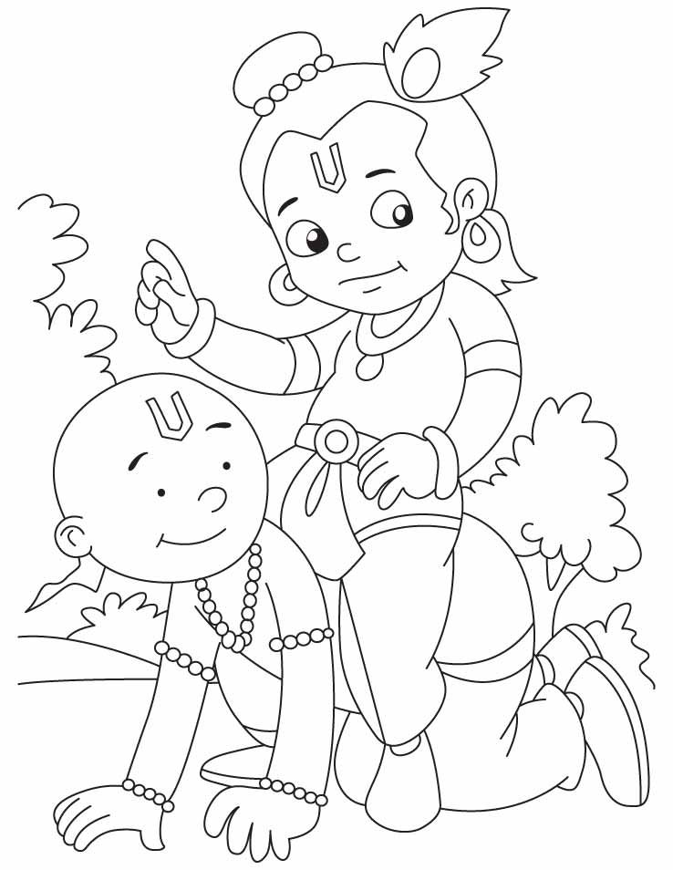 Krishna With Sudama They Are Best Friends Ever In The World Coloring Pages Krishna Drawing Art Drawings For Kids Baby Art Activities