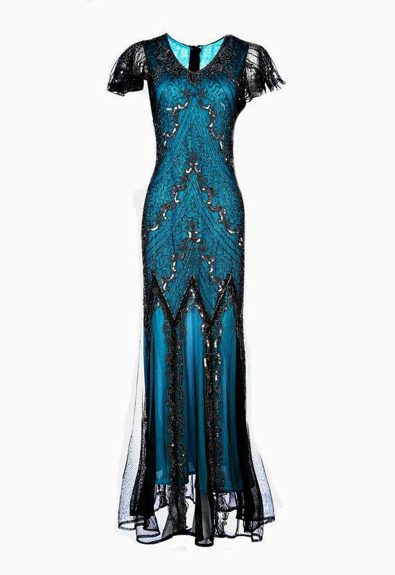 Evelyn Blue Beaded Flapper Dress, 20s Great Gatsby Inspired ...