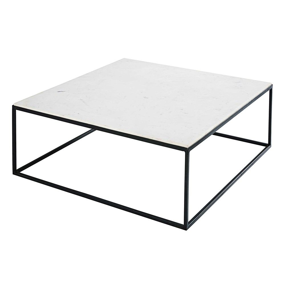 Table Basse Carree En Marbre Blanc Et Metal Noir Marble Maisons Du Monde Table Basse Carree Table Basse Table Basse Marbre