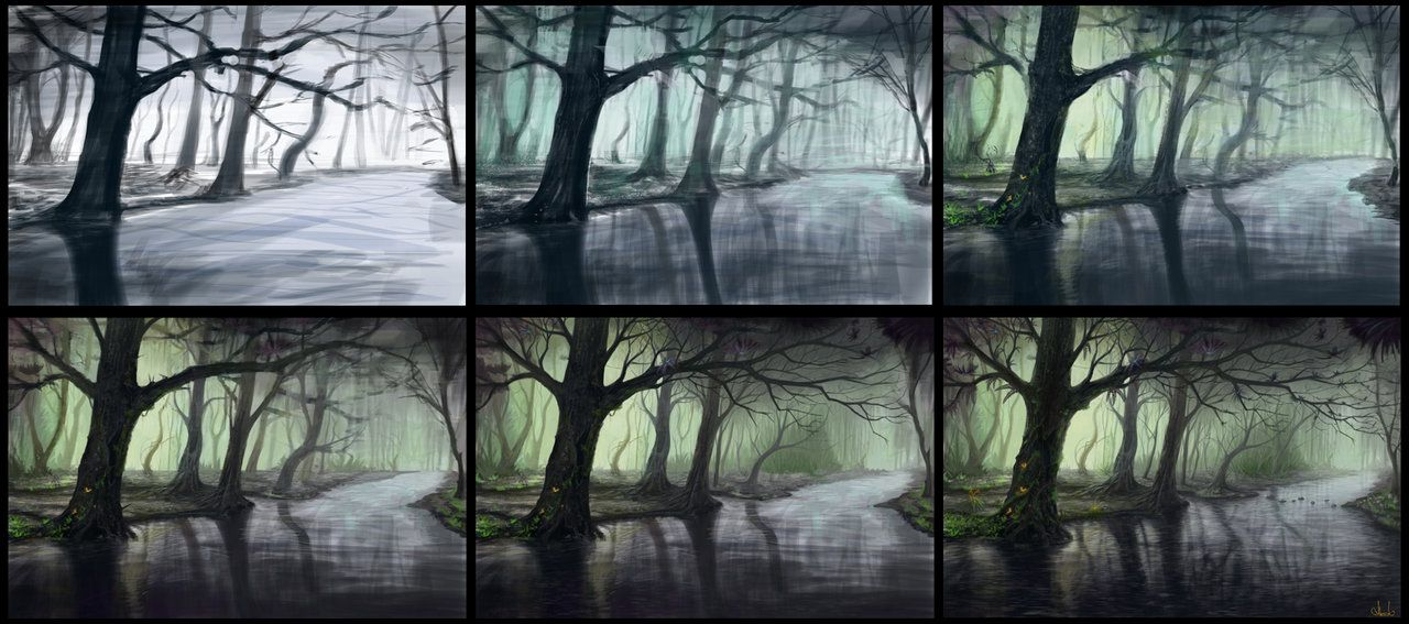 Fantasy forest process by =Azot-2013 on deviantART