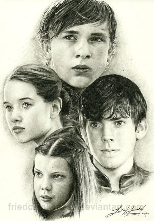 Peter Susan Edmund And Lucy Drawings Chronicles Of Narnia