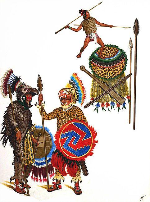 """Spain / Battles, Knights - """"Guerreros Jaguar"""" (ocēlōpilli) guerreros de elite, miembros del ejército azteca, feroces combatientes que se diferenciaban de los """"Guerreros Aguilas"""" (cuāuhpilli), en que estos ultimos, sólo podían proceder de la nobleza. El águila y el jaguar representaban respectivamente la luz y la oscuridad en la mitología azteca. - """"Guerriers aztèques: Chevaliers Jaguar et Aigle"""", Jean Torton (Jeronaton)"""