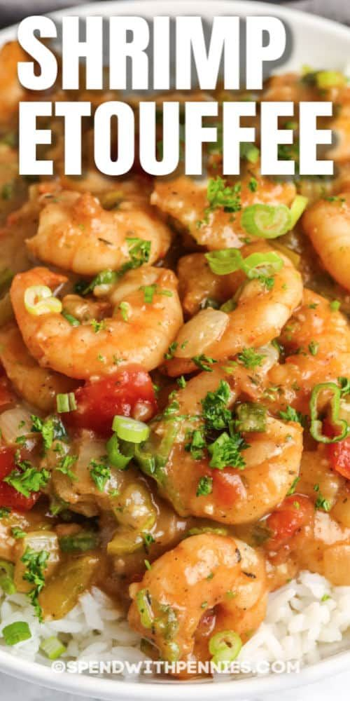 Shrimp Étouffée is packed with shrimp smothered in Cajun-style spices! It's slow simmered with peppers, onions, and tomatoes, then served on a bed of rice! #spendwithpennies #shrimpetouffee #recipe #maindish #homemade #cajun