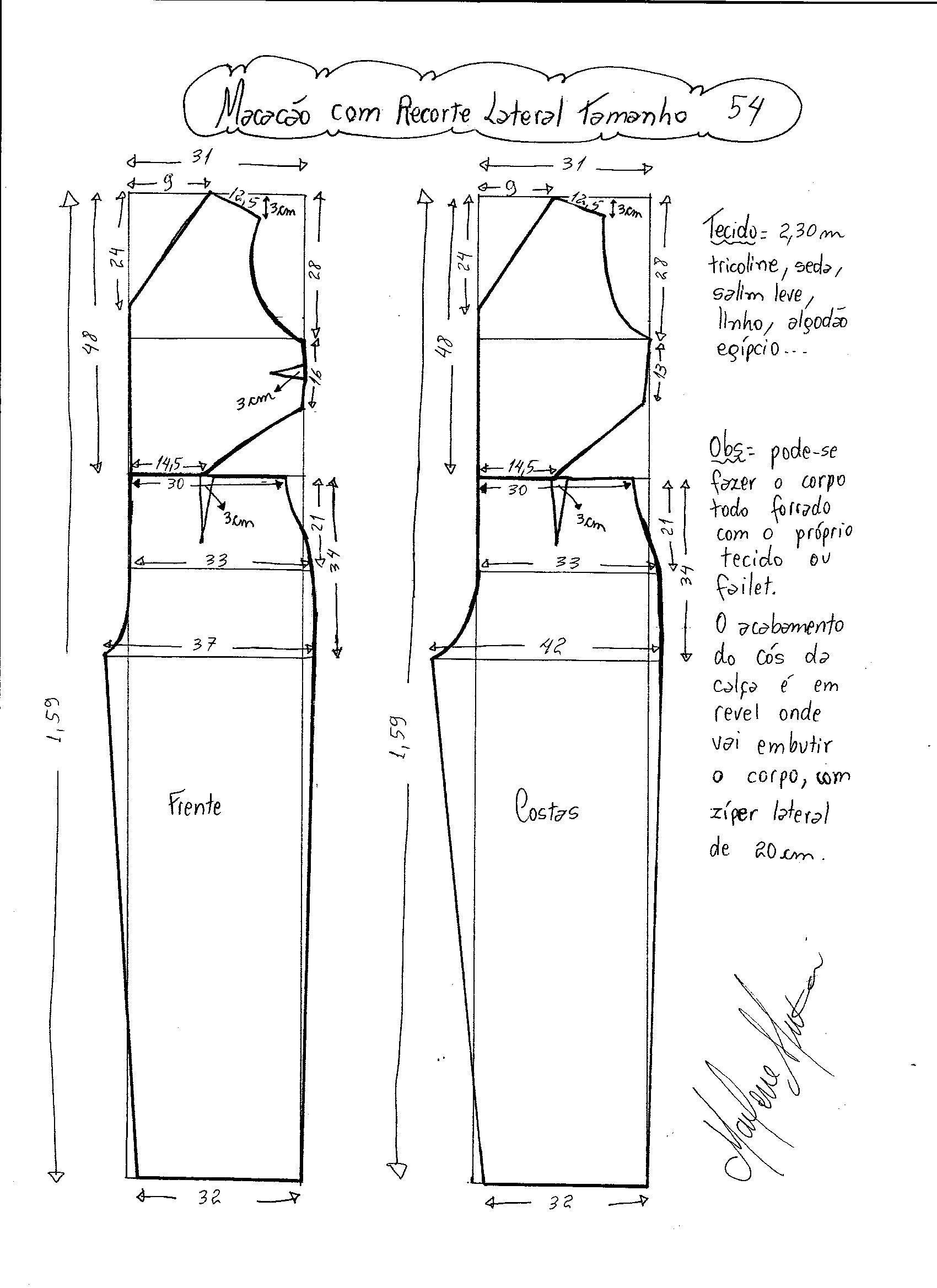 Patrón de Mono largo con abertura lateral | Corte y Confección ...