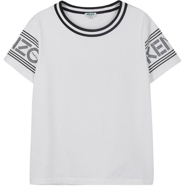 daf205b290 Womens T-Shirts KENZO White Designer-stamped Cotton T-shirt ($135) found on  Polyvore featuring women's fashion, tops, t-shirts, cotton t shirt, white  ...