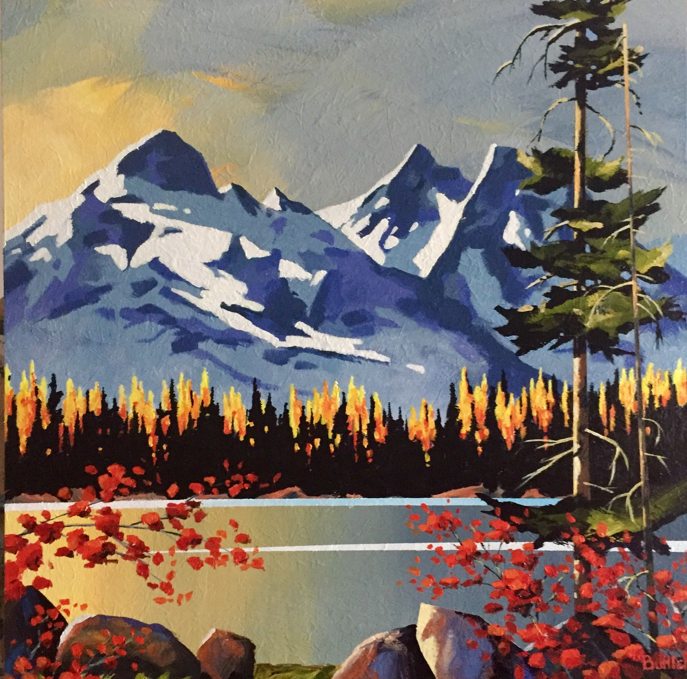 Tantalus Autumn By Brian Buhler Lake Painting Modern Art