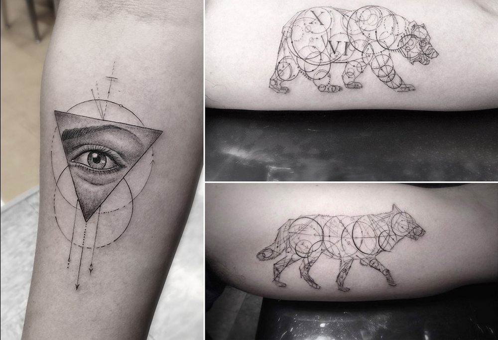Famous Line Art : Geometric fine line tattoos by los angeles famous tattoo artist dr