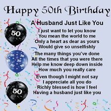 50th Birthday Poems For Husband Coaster A Husband Just Like
