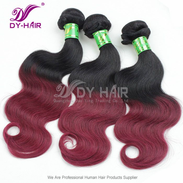 Wholesale Ombre Color Hair Body Wave 1B/99J Brazilian Hair Weft More Wavy Fashion Style|Online Shopping for Virgin Human Hair,Brazilian Virg...