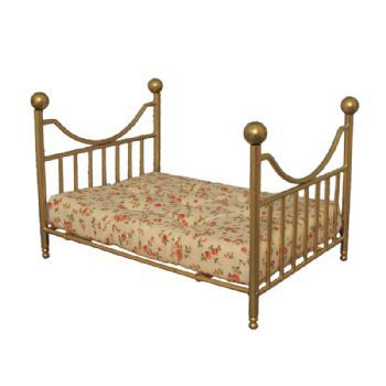 Brass Metal Bed - Double Beds - Beds - Dolls' House Furniture - Dolls House Emporium