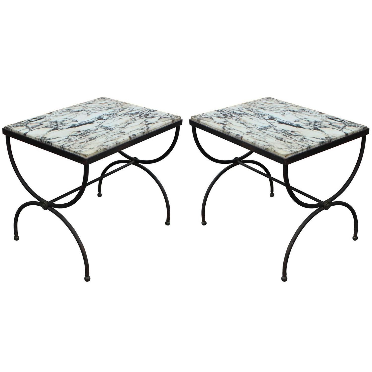 Lovely Pair Of Wrought Iron And Marble Cerule Side Tables From A