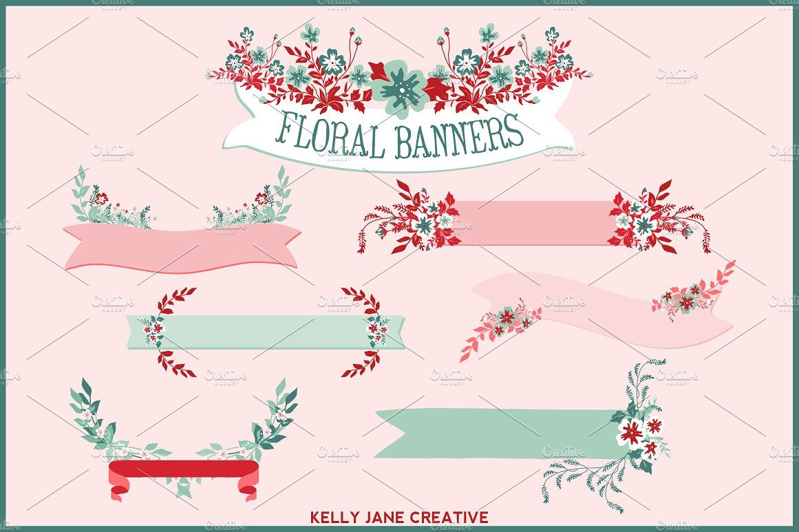 Floral Banners, Laurels, Bouquets by Kelly Jane Creative on @creativemarket