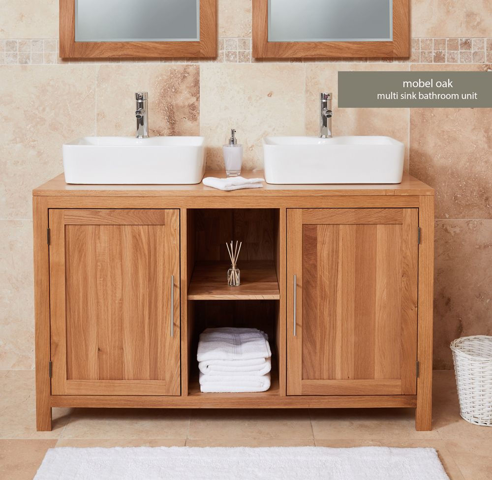 Solid Oak Dual Sink Unit With